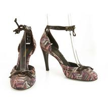 Missoni Violet Hues Tissu Marron Cuir Verni Bride Cheville Talons Chaussures 37 - £185.28 GBP