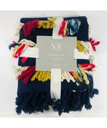 """Multi Color Fringed Throw Blanket 50"""" X 70"""" Blue Holiday Gift Noble Exce... - $69.29"""