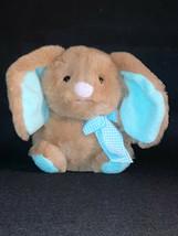 "2019 Animal Adventure Chubby Easter Bunny Rabbit Gingham Bow Plush Toy 7"" - $14.85"