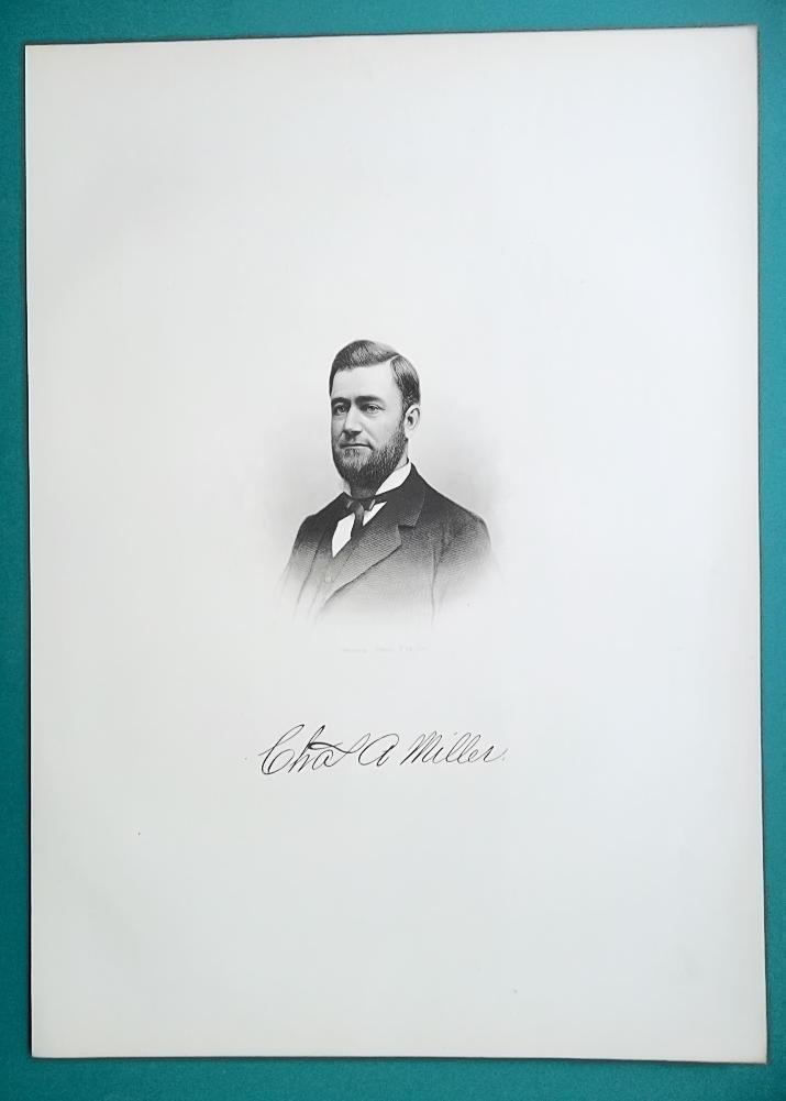 CHARLES MILLER Ohio Treasurer & Knight Templar  - 1881 Superb Portrait Print