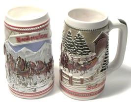 Two Budweiser Beer Stein's - 1985 Mountains & Covered BRIDGE--creamarte-Brazil - $45.00