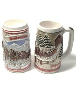 TWO Budweiser Beer Stein's - 1985  MOUNTAINS & COVERED BRIDGE--creamarte... - $45.00
