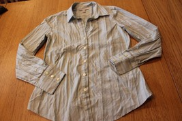 W10820 Womens OLD NAVY Long Sleeve Mint Striped Stretch Button Down Top ... - $11.65