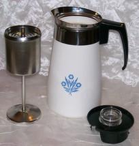 Vintage Corning Ware Blue Cornflower Stove Top 9 Cup Coffee Pot /Percola... - $42.95