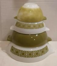 Vintage Pyrex Cinderella Nesting Bowl Verde Square Flowers 444 443 442 441 - $46.77