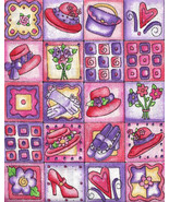 Designer Quilt Shop Fabric, Little Squares, Red Hat Society,Shoes,Hearts... - $7.07