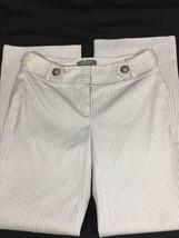 Ann Taylor Petites White Striped Pants Dress Pants Curvy Fit Lower Size OOP - $15.88