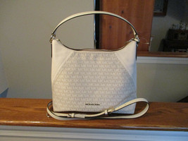 Authentic Michael Kors Aria Large Shoulder Bag Nat/LT Cream Signature Ne... - $208.56 CAD