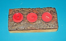 Slab Cut Pine Log Christmas Candle Holder For Tea Lights Or LED Lights - $14.80