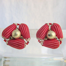 Vintage Japan Red Brocade Golden Bead Triangle Cluster Clip Earrings Gol... - $12.59