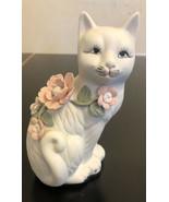 Vintage cat Kitten kitty Ceramic floral Flower - $18.70