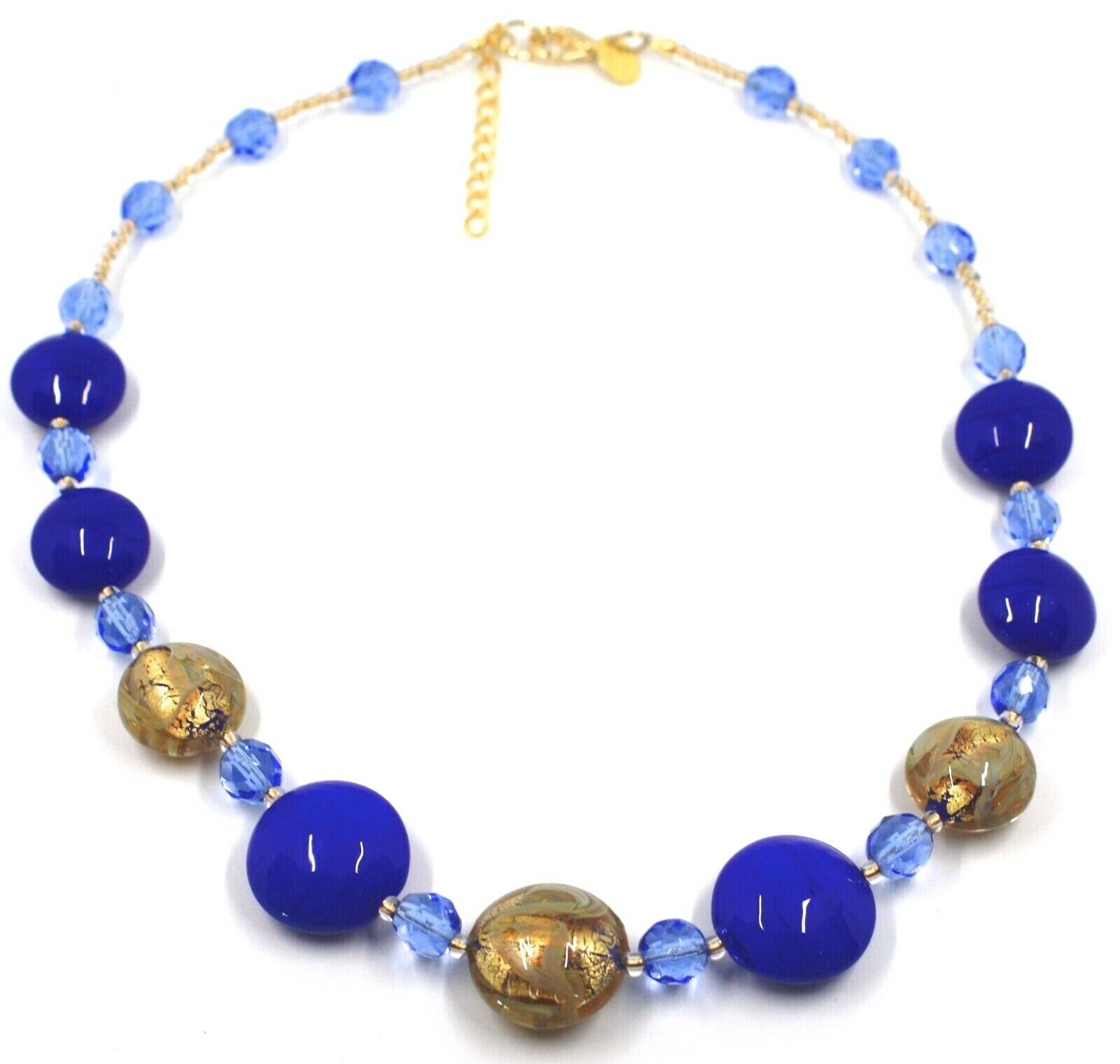 """NECKLACE BLUE YELLOW MURANO GLASS DISC & GOLD LEAF, MADE IN ITALY, 50cm, 20"""""""