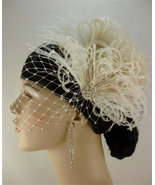 Bridal Fascinator, Feather Fascinator, English Net Veil - $75.00