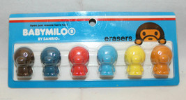 Sanrio Smiles Japan Baby Milo Stationary 6 Colorful Pencil Cap Erasers S... - $24.35