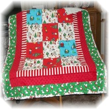 Snoopy's Vintage & New Christmas Fabric Patchwork Baby/Toddler Quilt  - $50.00