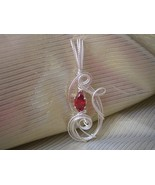 Lab Created Ruby Sterling silver Pendant Handcrafted Sculpture - $43.00