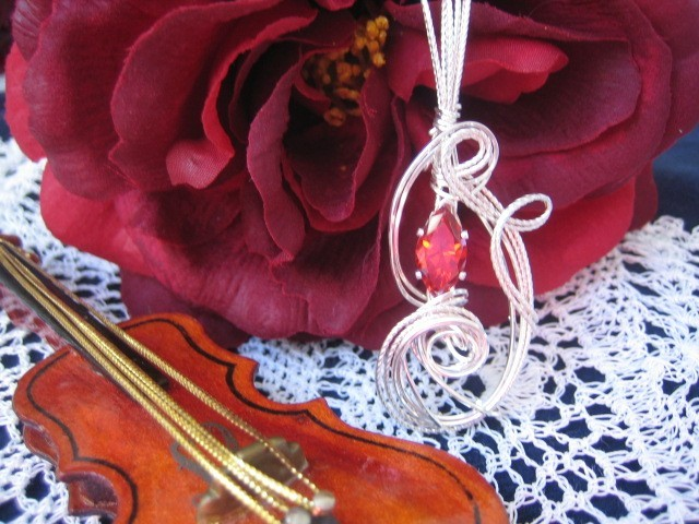 Lab Created Ruby Sterling silver Pendant Handcrafted Sculpture