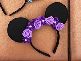 Purple Flower Crown Minnie Mouse Ears for Disneyworld/Disneyland Two Sided - $6.93