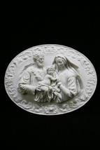 Holy Family Joseph Jesus Mary Wall Plate Plaque Statue Vittoria Made in ... - $89.99