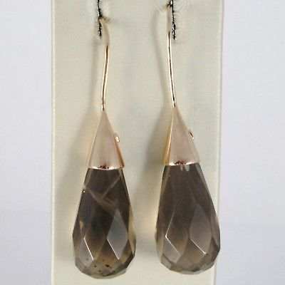 925 STERLING ROSE SILVER PENDANT EARRINGS WITH BIG SMOKY QUARTZ FACETED DROPS