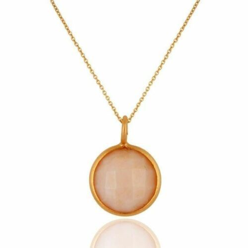 Natural Pink Opal Gemstone Jewelry 18K Gold Plated 925 Sterling Pendant