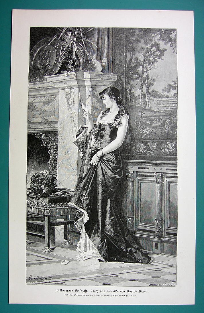 Primary image for LOVELY MAIDEN Reads Love Letter by C. Kiesel - 1890s Antique Engraving Print