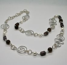 NECKLACE THE ALUMINIUM LONG 88 CM WITH CHALCEDONY QUARTZ WHITE PEARLS image 5