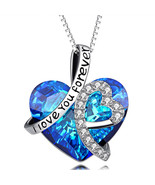 'Heart Of The Ocean'..White Gold..Blue Sapphire..Titanic Necklace - Gift... - $12.73