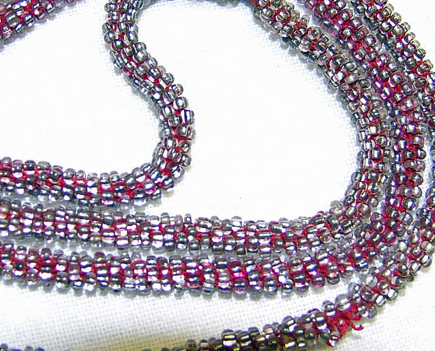 Art Deco Vintage Glass Seed Bead Necklace Cord Style