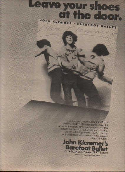 * 1976 JOHN KLEMMER BAREFOOT BALLET POSTER TYPE AD