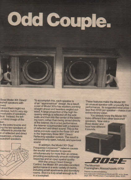 * 1976 BOSE 301'S SPEAKERS ODD COUPLE POSTER TYPE AD