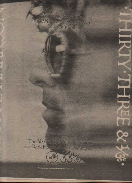* 1976 GEORGE HARRISON THE BEATLES 33 & 1/3 POSTER AD
