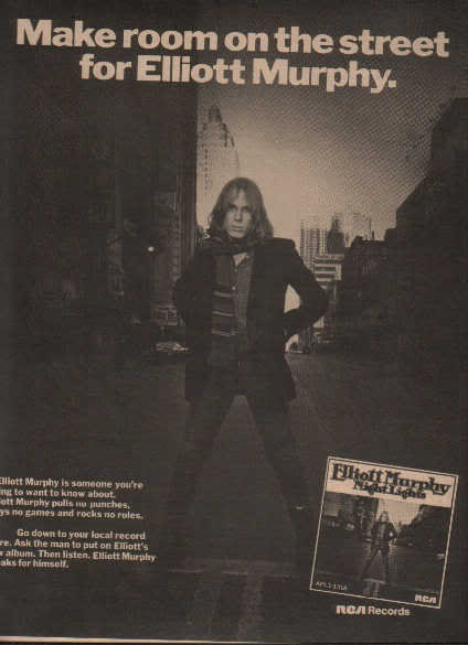 * 1976 ELLIOTT MURPHY NIGHT LIGHTS POSTER TYPE AD