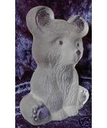 Viking Glass Frosted Bear Cub Paperweight Bookend - $24.99