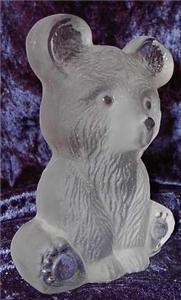 Viking Glass Frosted Bear Cub Paperweight Bookend