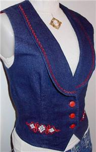 Red White Blue Embroidery Western Horse Show Vest Small