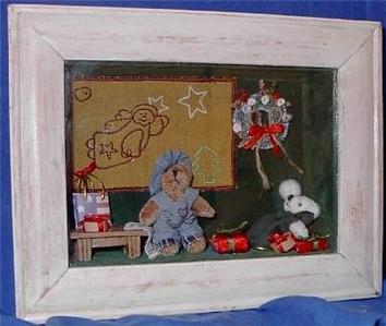 Teddy Bear Angel Quilt Shadow Box Shelf Sitter