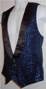 Mens Black Blue Sparkle Western Horse Show Hobby Vest M