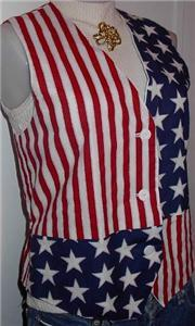 Red White Blue Western Apparel Horse Show Hobby Vest M
