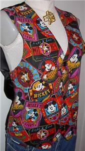 Mickey Mouse Disney Apparel Horse Show Hobby Vest M