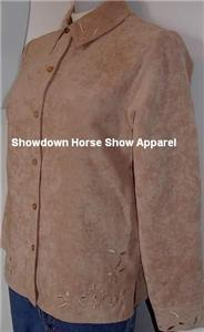 Tan Embroidery Western Apparel Horse Show Hobby Shirt S