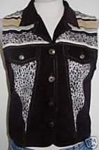 Black Leopard Trim Western Halter Horse Show Apparel Hobby Vest Sz 8 Leadline  - $50.00