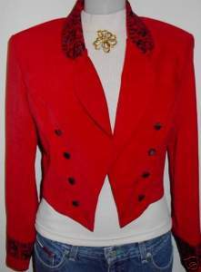 Red Embroidery Horse Show Hobby Apparel Rail Jacket 8