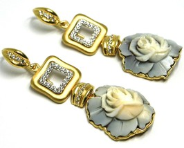 EARRINGS SILVER 925, CAMEO CAMEO SHELL, ROSES, FLOWERS, HANGING image 2