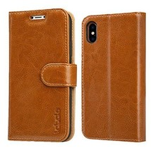 iPhone X Wallet Case Leather Magnetic Closure Folio Card Slots Kickstand... - $27.11
