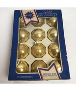 Vintage Box of 12 Coby Gold Glass Christmas Ornaments - $18.80