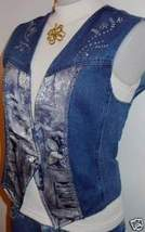 Denim Decorated Rodeo Western Horse Show Apparel Vest 6 - $38.00