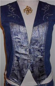 Denim Decorated Rodeo Western Horse Show Apparel Vest 6