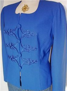 Royal Blue Embroidered Rail Horse Show Hobby Jacket Sz 10 Showmanship Western