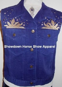 Blue Western Dog Horse Show Hobby Clothes Vest Studs LG